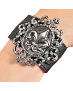 Hard Wear Metal Fleur De Lis Ornate Filigree Crystal Gemstone Genuine Leather Cuff Wide Bracelet in Black