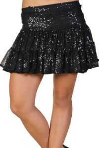 LA Rockers Aryn Sequins Stretch Layered Tiered Womens Mini Skirt in Black