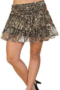 LA Rockers Aryn Sequins Stretch Layered Tiered Womens Mini Skirt in Gold