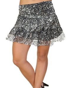 LA Rockers Aryn Sequins Stretch Layered Tiered Womens Mini Skirt in Silver