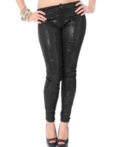 LA Rockers Skyler Sequins Stretch Zipper Front Womens Skinny Pants in Black