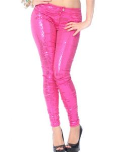 LA Rockers Skyler Sequins Stretch Zipper Front Womens Skinny Pants in Fuchsia Pink