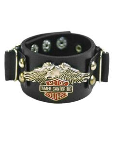 Hard Wear American Motors Eagle Motorcycle Biker Style Unisex Genuine Leather Cuff Wide Bracelet in Black