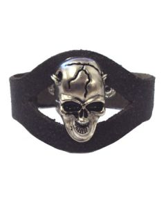 Hard Wear Metalhead Large Screaming Skull Motorcycle Biker Style Unisex Genuine Leather Cuff Wide Bracelet in Black