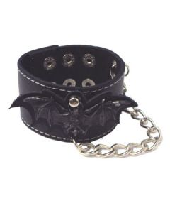 Hard Wear Bat Wings Large Emblem Metal Chain Unisex Genuine Leather Cuff Wide Bracelet in Black