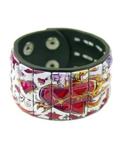 Hard Wear Burning Hearts Painted Tattoo Art Studded Unisex Genuine Leather Cuff Wide Bracelet in Black and White