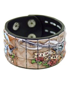 Hard Wear Guns Roses Revolvers Painted Tattoo Art Studded Unisex Genuine Leather Cuff Wide Bracelet in Black and Tan