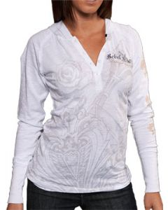Rebel Spirit Thrive Gold Fleur-de-lis Roses Shield Medieval Rhinestones Ornate Womens Long Sleeve Button Up Henley Thermal Shirt With Hoodie in White