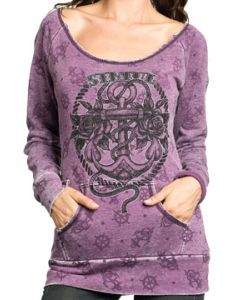 Sinful Dottie Mae Anchor Captain Wheel Roses Pirate Ship Nautical  Tattoo Womens Long Sleeve Scoop Neck Pull Over Sweatshirt in Purple
