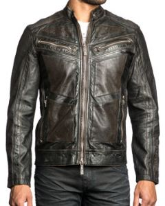 Affliction Live Fast Fire Skull Pistons Emblem Motorcyle Mens Long Sleeve Genuine Leather Jacket in Black - Limited Edition - UP TO SIZE XXL