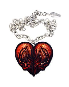 Kreepsville 666 Red Skull Heart Shape Pendant with Chain Necklace in Silver