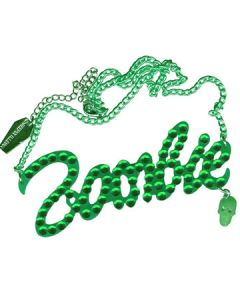 Kreepsville 666 Green Zombie Ornate Script Pendant Green Stones Skull Charm with Chain Necklace in Green & Silver