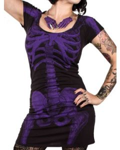 Kreepsville 666 Purple Skeleton Bones Vertebrae X-Ray Stretch Womens Short Sleeve Scoop T-Shirt Dress or Long Tunic Shirt in Black- UP TO XXL