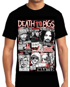 Killers Never Die Death To Pigs Serial Killers Newspaper Images Collage Gacy Manson Dahmer Gein Mens Short Sleeve T-Shirt in Black - UP TO SIZE XXXL / 3XL