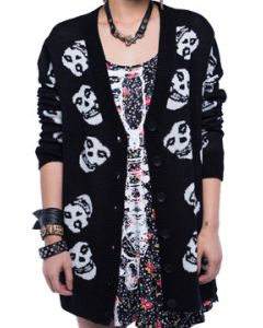 Iron Fist Misfits Fiend Skull Collage Licensed Band Art Punk Womens Long Sleeve Button Up Cardigan Sweater in Black - UP TO SIZE XXL