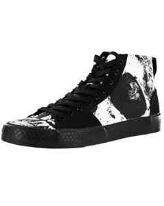 Iron Fist Loose Tooth Skeleton Skull Teeth Broadway Distressed Mens High Top Canvas Sneaker in Black