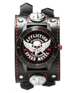 Affliction American Customs Speed Metal Winged Skull Stars Medieval Cross Studs Genuine Leather Wide Band Double Strap  Mens Watch in Black & Red