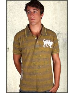 Parasuco Lion Koi Fish Distressed Paint Splatter Mens Short Sleeve Button Polo Shirt in Taupe Brown and Green Stripes - SIZES M & L LEFT
