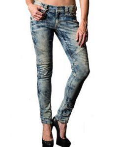Affliction Raquel Carly Biker Moto Panel Seam Stitch Distressed Bleach Womens Skinny Jeans in Medium Blue Brentwood Tie Dye - SIZES 24-29