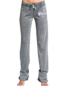 Sinful Blackburn Angel Wings Logo Purple Foil Tie Waist Womens Long Sweat Pants in Black Burnout Wash