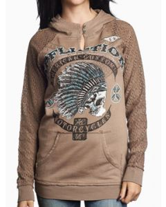Affliction American Customs Arrow Indian Headdress Chief Skull Native Womens Long Sleeve Pull Over Keyhole Hoodie in Taupe Brown