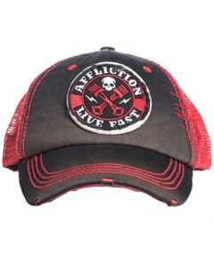 Affliction Live Fast Crossed Iron Skull Pistons Embroidered Patches Moto Biker Mechanic Unisex Trucker Hat in Black and Red