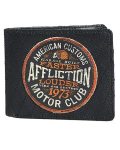 Affliction American Customs Motor Club Indian Skull Headdress Emblem Motorcycle Biker Quilted Stitch Bifold Genuine Leather Wallet in Black