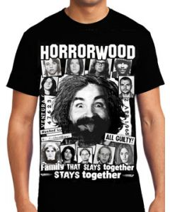Killers Never Die Horrorwood Charles Manson Family Followers Serial Killers Newspaper Collage Mens Short Sleeve T-Shirt in Black - UP TO SIZE XXXL / 3XL