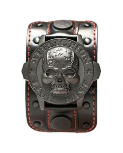 Affliction Live Fast Black Skull Metal Medallion Stars Fleur Crystal Extra Wide Genuine Leather Band Cuff Mens Watch in Black & Red