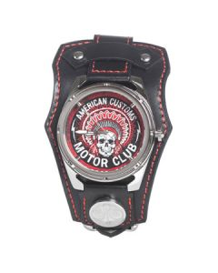 Affliction American Customs Motor Club Indian Chief Skull Headdress Crystal Wide Genuine Leather Band Cuff Mens Watch in Black & Red