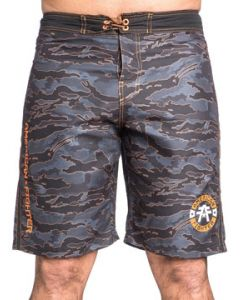 American Fighter North Creek Orange Emblem Military UFC MMA Sports Athletic Tie Waist Mens Board Shorts in Black & Green Camo - UP TO SIZE 42