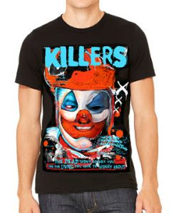 Killers Never Die John Wayne Gacy Pogo Killer Clown Serial Killer Horror Mens Short Sleeve T-Shirt in Black - UP TO SIZE XXXL / 3XL