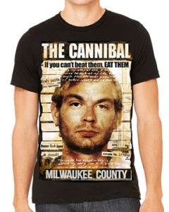 Killers Never Die The Cannibal Jeffrey Dahmer Police Booking Photo Serial Killer Horror Mens Short Sleeve T-Shirt in Black - UP TO SIZE XXXL / 3XL