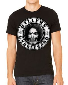 Killers Never Die Unhollywood Logo Charles Manson Horror Serial Killer Mens Short Sleeve T-Shirt in Black - UP TO SIZE XXXL / 3XL