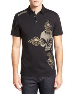 Affliction Blinded Large Skull Medieval Celtic Cross Gold Foil Mens Short Sleeve Button Up Polo Shirt in Black Lava Wash - VERY RARE SIZE SMALL LEFT