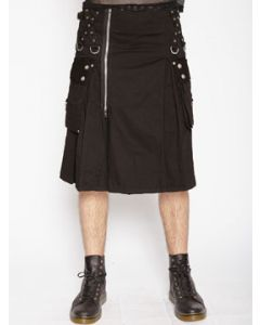 Tripp NYC Punk Metal Moto Rocker Goth Zippers Multi Straps D-Rings Cargo Pockets Mens Super Kilt Pleated Skirt in Solid Black SIZES XS-XXL