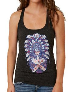 Secret Artist Mayan Headdress Aztec Woman Sugar Skull Medallion Feather Headdress Tribal  Womens Racerback Tank Top in Black Triblend Burnout