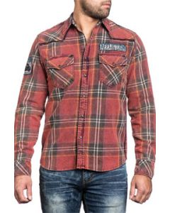 Affliction Rebel Rouser Small Skeleton Motorcycle Rider Shoulder Patch Mens Long Sleeve Snap Button Up Woven Dress Shirt in Red - SIZE MEDIUM