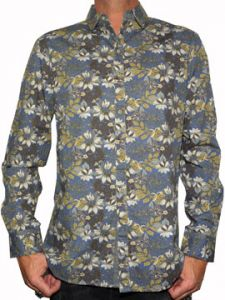 Rock Roll n Soul Island Of Skulls Tropical Floral All Over Pattern Mens Long Sleeve Button Up Woven Dress Shirt in Navy Blue - SIZE LARGE