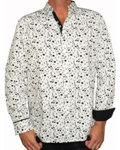 Rock Roll n Soul Music On My Mind Treble Clef Music Notes All Over Mens Long Sleeve Button Up Woven Dress Shirt in White - UP TO 2XL