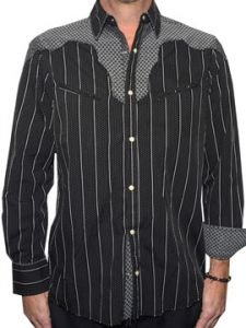 Rock Roll n Soul Country Bars Striped Chevron Western Rocker Style Mens Long Sleeve Button Up Woven Dress Shirt in Black - UP TO XL