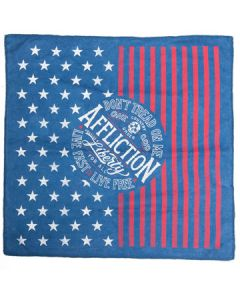Affliction Live Fast Live Free Liberty For All One God Skull American Flag Stars Stripes Unisex Bandana in Navy Blue Lava Wash
