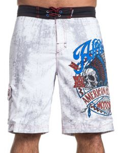 Affliction American Customs Motors Vision Quest Native Indian Chief Skull Headdress Arrows Mens Board Shorts in White - UP TO SIZE 40