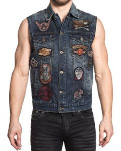 Affliction American Customs Just Right Embroidered Multi Patch Skull Snake 13 Wings Moto Biker Mens Denim Vest in Indigo Blue - UP TO XXL