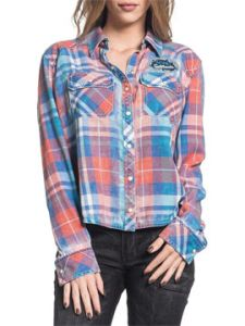Affliction American Customs Sag Harbor ACMC Patch Tulip Back Womens Long Sleeve Snap Button Up Plaid Woven Dress Shirt in Orange Crush