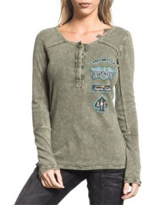 Affliction American Customs United Live Fast Wings Black Spade Four Patches Womens Long Sleeve Button Up Scoop Neck Henley Shirt in Olive Green
