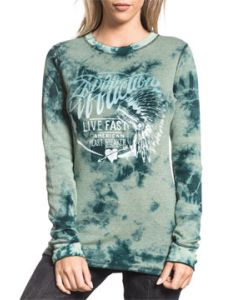 Affliction American Customs Breckenridge Indian Feather Headdress Engine Angel Wings Womens Long Sleeve Thermal Shirt in Aqua Blue & Green REVERSIBLE