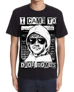 Killers Never Die Drop Bombs Unabomber Ted Kaczynski Letter Script True Crime Murder Mystery Mens Short Sleeve T-Shirt in Black - UP TO SIZE 3XL