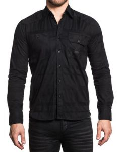 Affliction Black In Back Solid No Graphics Two Chest Pockets Tailored Look Mens Long Sleeve Button Up Woven Dress Shirt in Black - SIZE SMALL