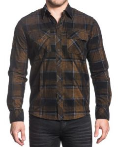 Affliction Copper Mountain No Graphics Two Chest Pockets Mens Long Sleeve Button Up Woven Dress Shirt in Copper Brown & Black Plaid - UP TO SIZE MEDIUM
